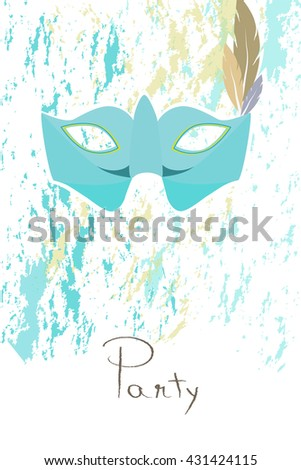 Carnival mask and feather on splash color background - stock vector