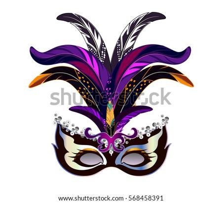 carnival mask feathers venetian mardi gras stock vector royalty