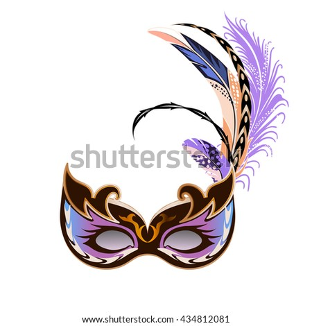 Carnival mask with feathers isolated on white background.