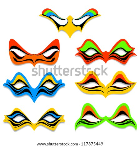 Carnival masks on a white background. Masks of different color and different form. - stock vector