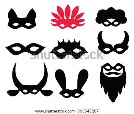carnival masks silhouette set black silhouettes stock vector