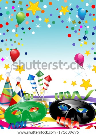 Carnival masks with confetti and balloons ideal for parties with space to insert your own text  - stock vector