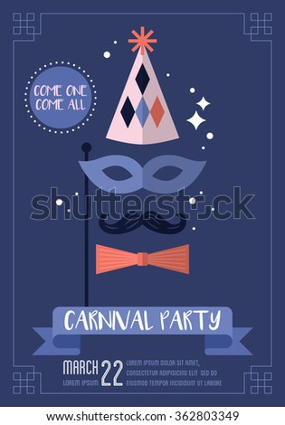 Carnival party poster design. Vector illustration