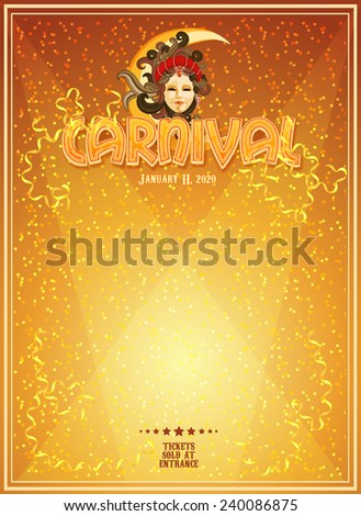 Carnival poster. Mardi Gras. Venice Carnival banner. Holiday template. - stock vector