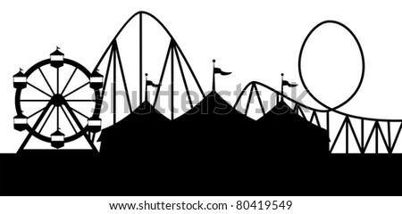 Carnival scene at night with a circus tent Ferris wheel and roller coaster.  Ideal for carnival signs - stock vector