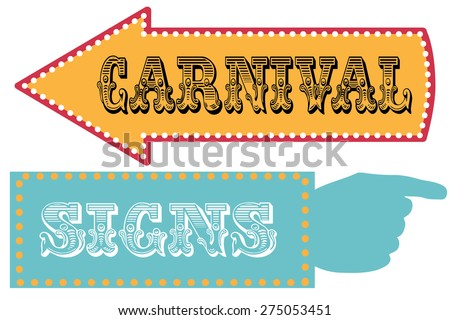Carnival sign template direction signs with arrow and pointing hand - stock vector