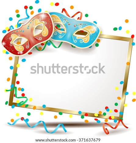 Carnival signboard with two masks, vector illustration  - stock vector