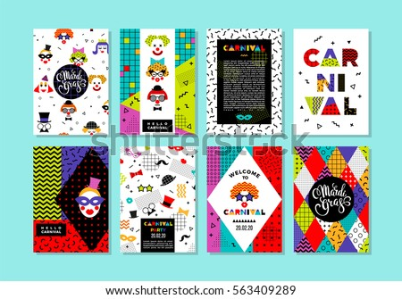Carnival templates in Memphis style. Vector backgrounds with geometric ornaments in the style of 80-90. For carnival concept and other users.