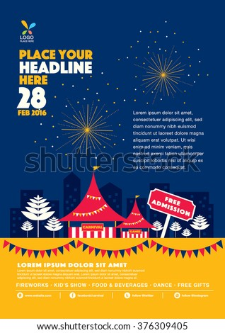 Carnival theme template design invitation/ Amusement park elements info graphic poster design/ Fun fair icons/ Popcorn cart and carnival tent/ Celebration and party theme card design - stock vector