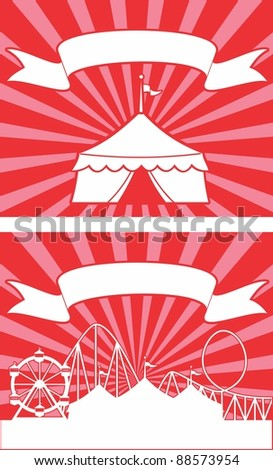 Carnival themed circus tent with stripes and banner.  Ideal for a sign or advertisement - stock vector