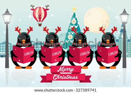 carolers/ penguins christmas vector/illustration - stock vector