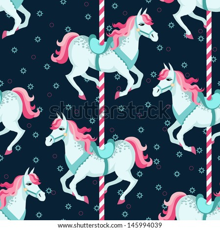 Carousel horses seamless pattern - stock vector