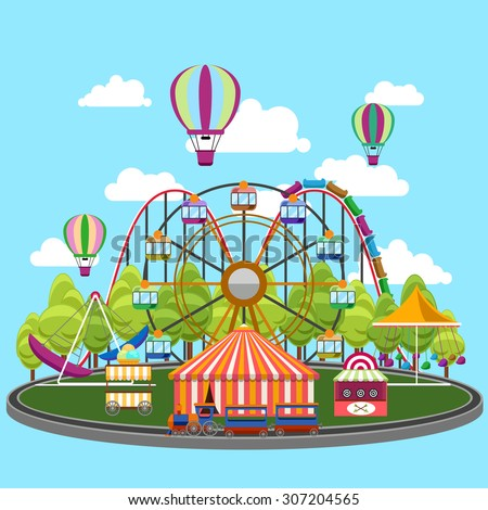 Carousel in flat design. Park circus, amusement and entertainment, carnival and wheel, vector illustration - stock vector