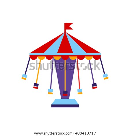 Carousel With Sits On Chains Primitive Colorful Style Flat Isolated Vector Icon On White Background - stock vector