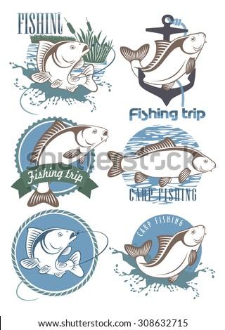 Carp Fishing Icons - stock vector