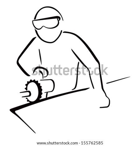 Carpenter at work - stock vector