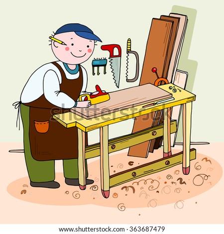Vector Illustration Carpenter Working Making Chair Stock Vector ...