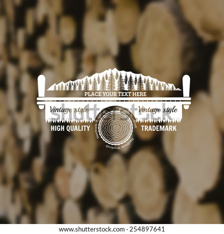 carpenter craft style background with two-man saw forest and log middle on old plank blur photo - stock vector