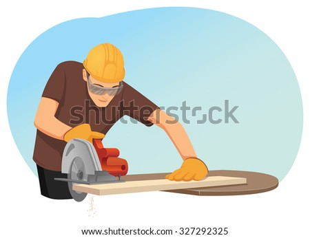 Carpenter in helmet and protective eye-wear is cutting a wooden plank by the circular saw - stock vector