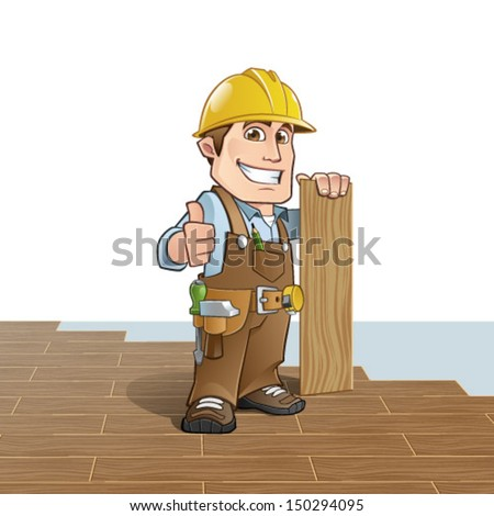Carpenter installing wood flooring - stock vector