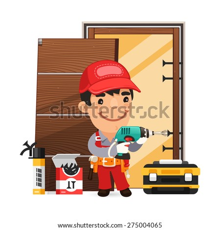 Carpenter Installs the Door. Isolated on white background. - stock vector