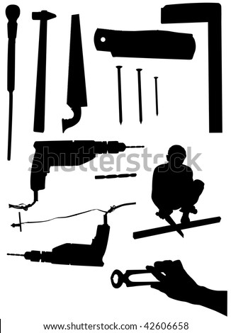 carpenter silhouette - stock vector