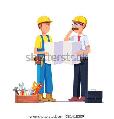 Carpenter talking with foreman or architect. Discussing work plan or blueprint. Flat style modern vector illustration. - stock vector