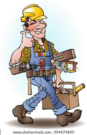 Carpenter vector cartoon illustration drawing - stock vector