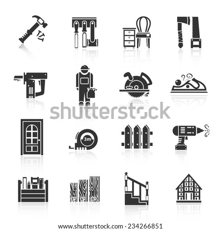 Carpentry industry equipment icons black set with hammer tools furniture saw isolated vector illustration - stock vector