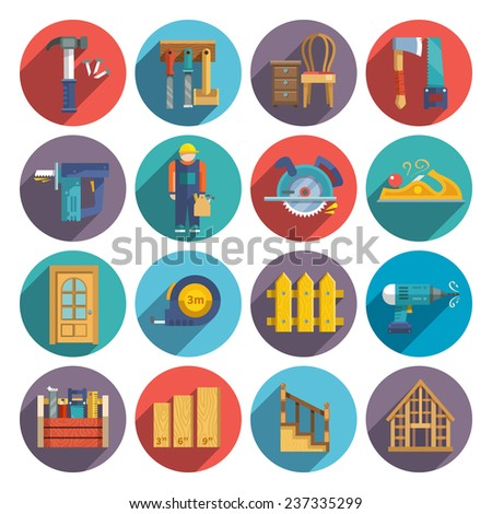 Carpentry industry equipment icons flat set with toolbox furniture wood fence isolated vector illustration - stock vector