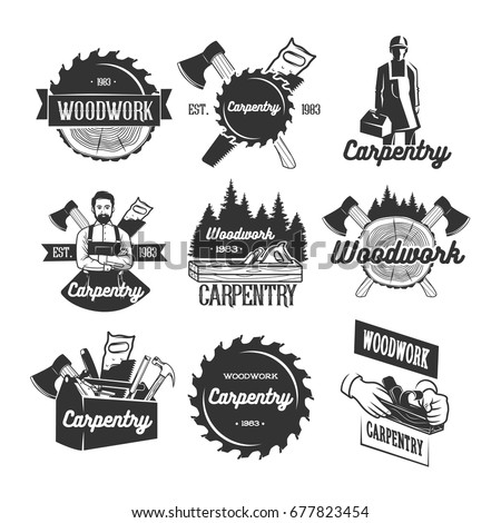 carpentry logo templates black white vector stock vector 677823454