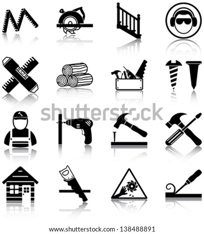 Carpentry related icons/ silhouettes. - stock vector