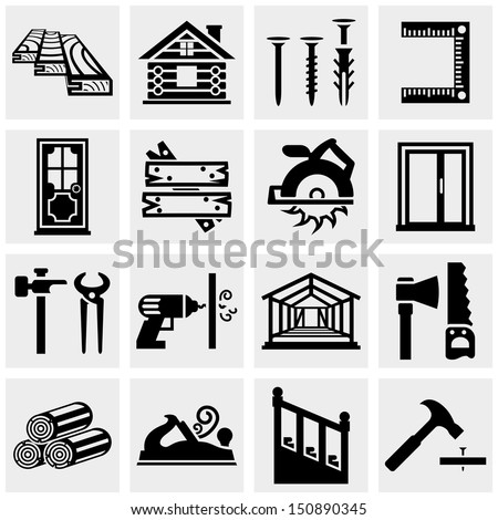 Carpentry vector icons set on gray - stock vector