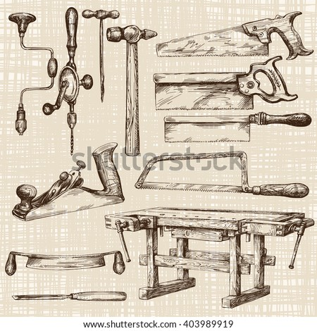 Carpentry workshop, set of tools. - stock vector