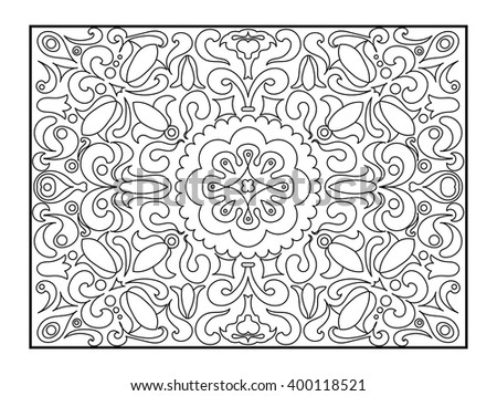 Carpet coloring book for adults vector illustration. Anti-stress coloring for adult. Zentangle style. Black and white lines. Lace pattern