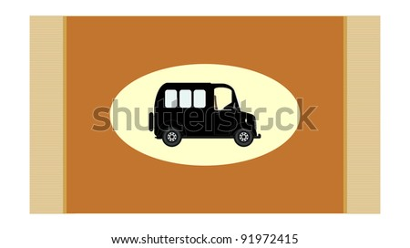 Carpet with old car - stock vector