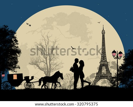 Carriage and lovers at night in Paris, romantic background, vector illustration - stock vector