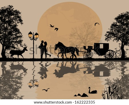 Carriage and lovers at night on beautiful landscape with reflection, vector illustration