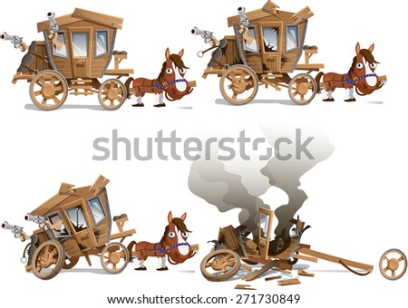 carriage before and after the shooting - stock vector