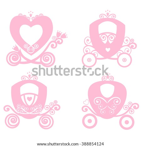 Carriage Princess Cinderella Pink Vector Vintage Fairytale Royal Girl Online Store Logo