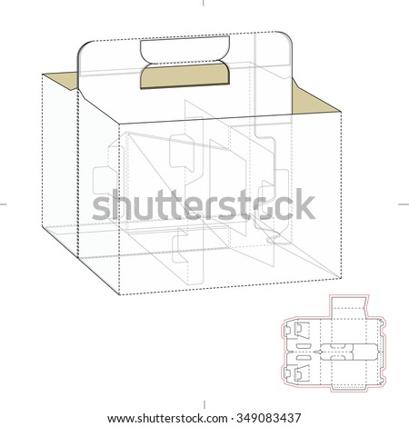 Carrier box die cut template stock vector 349083437 shutterstock carrier box with die cut template pronofoot35fo Images