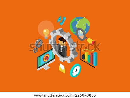 Carrier HR teamwork human relations in business flat 3d isometric pixel art modern design concept businessman icon vector web banners illustration print materials website click infographics pixelart - stock vector