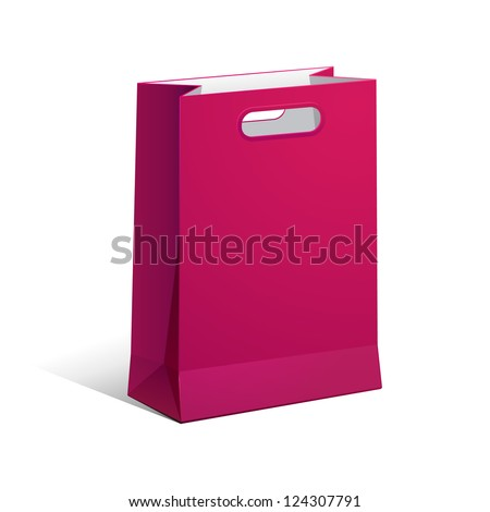 Carrier Paper Bag Purple Pink Violet Empty EPS10