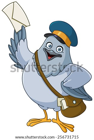 Carrier pigeon cartoon - stock vector