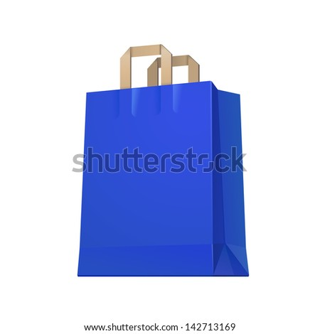 Carrier Shopping Paper Bag Blue Empty EPS10