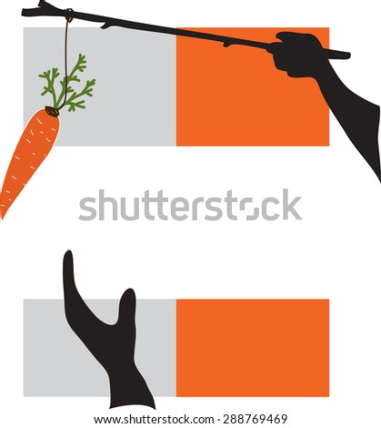 Carrot and stick, Conceptual image about motivation and reaching a goal. - stock vector