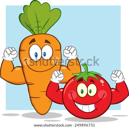 Carrot And Tomato Cartoon Mascot Characters Showing Muscle Arms. Vector Illustration With Background - stock vector