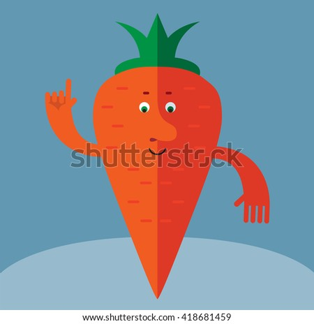 Carrot  making attention gesture with forefinger. Flat style vector illustration . Funny cartoon character - stock vector