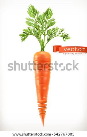 Carrot. Vegetable 3d vector icon