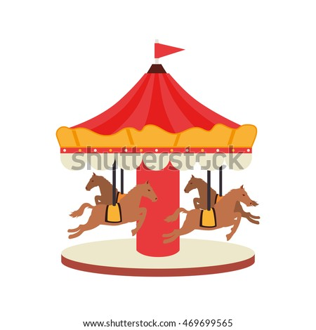 carrousel horse amusement fair entretaiment round attraction fun vector  isolated illustration